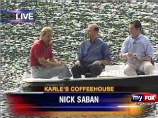 Alabama Coach Nick Saban praised Paul Finebaum. Here is a photograph of Saban with Finebaum and Rick Karle.