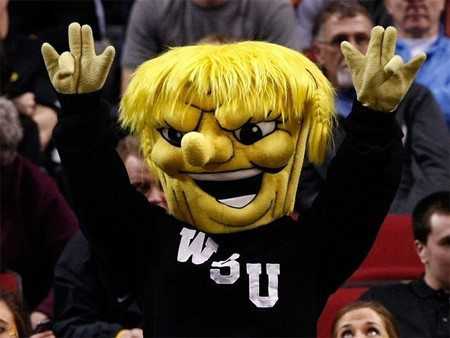 "Incredible: The Wichita State Shocker mascot actually throwing the ""shocker"" hand gesture. If you don't know, ask someone. This is a family site."