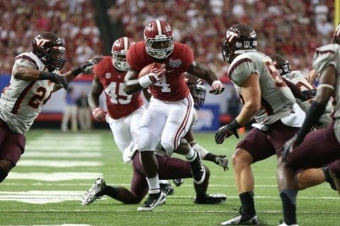 Alabama Football player T.J. Yeldon against Virginia Tech in the Chick-fil-a Kickoff Game in Atlanta. Photo by UA Media Relations.