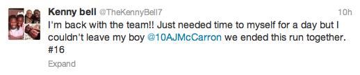 Bell returns tweet 2