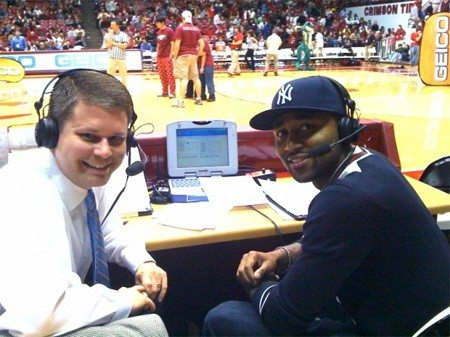 Alabama play-by-play man Chris Stewart, putting on a smile behind all the pain