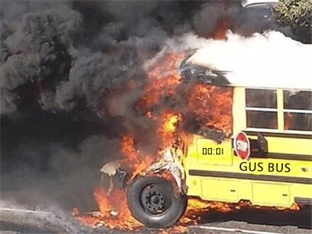 Gus Bus on fire