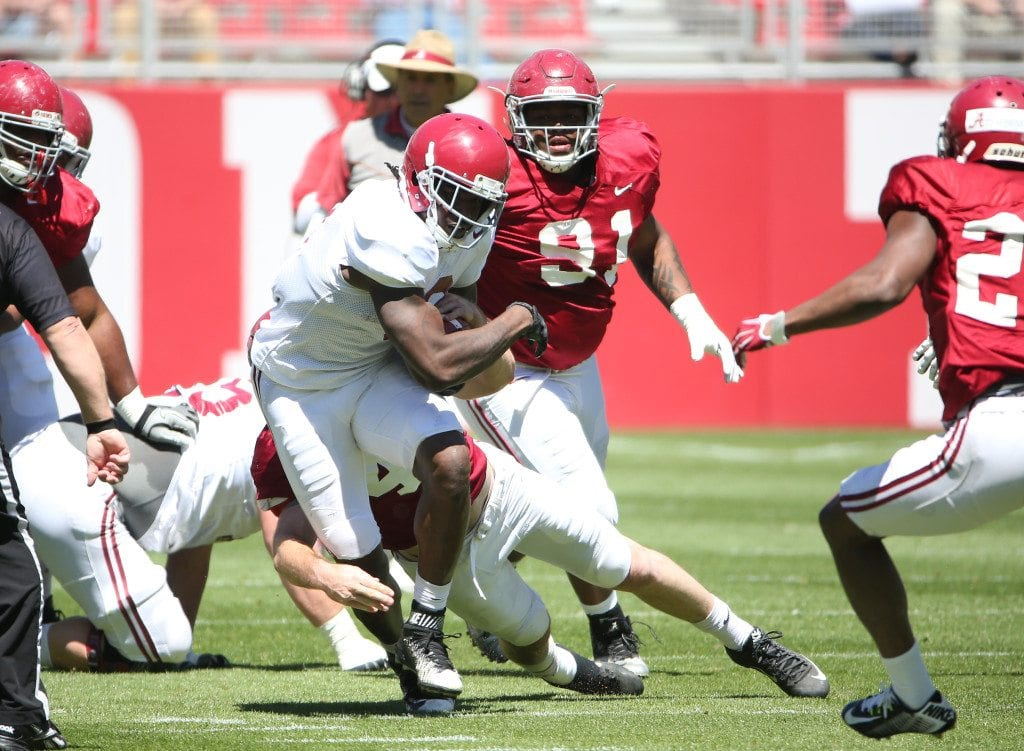 04-02-16  Alabama Football running back Bo Scarbrough (9) during Spring Practice scrimmage 1.