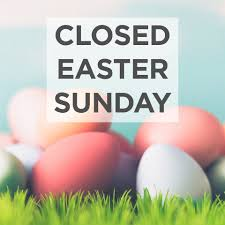 Closed Easter Sunday curbside pickup resumes Monday!