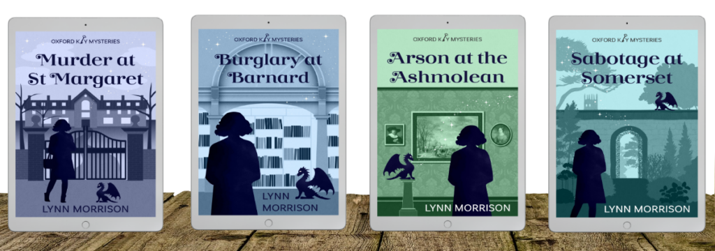 Covers of the four books in the Oxford Key Mysteries series