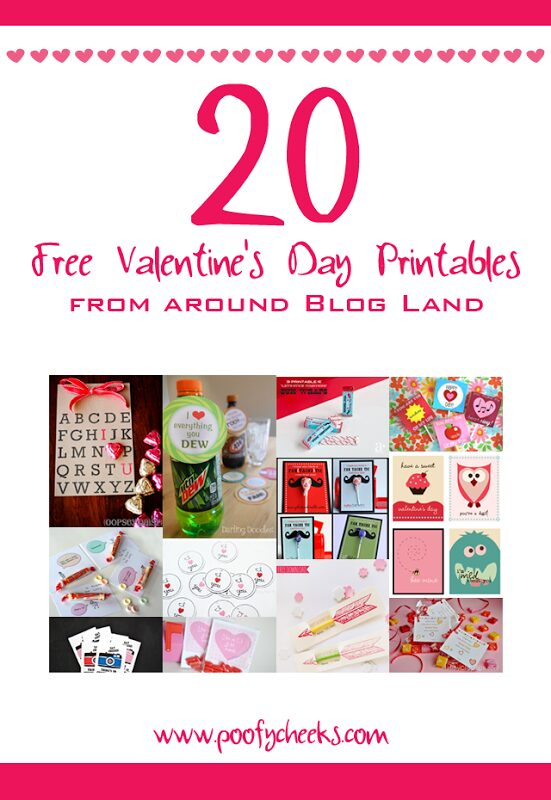 20 Free Valentine Card Printables from around Blog Land