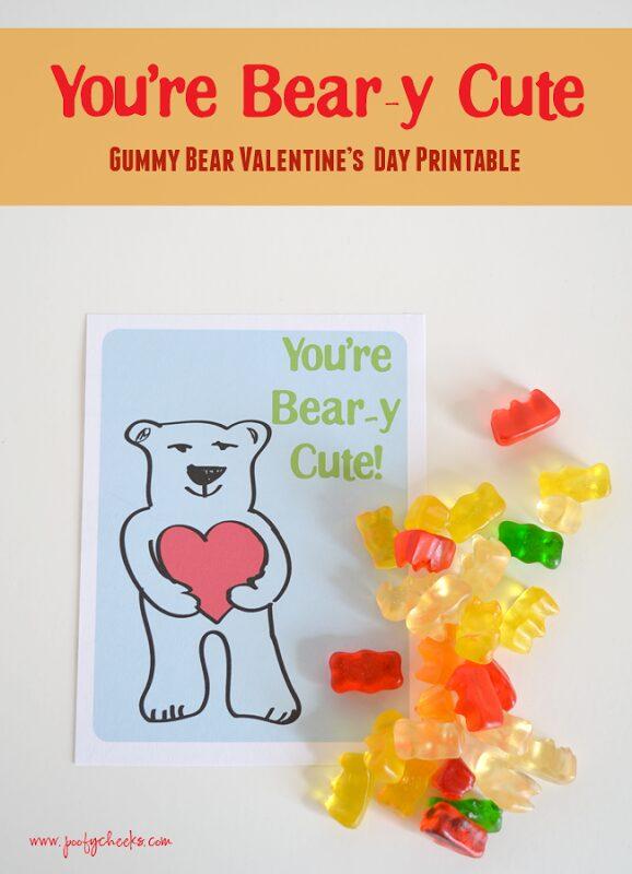 You're Beary Cute – Gummy Bear Valentine Printable