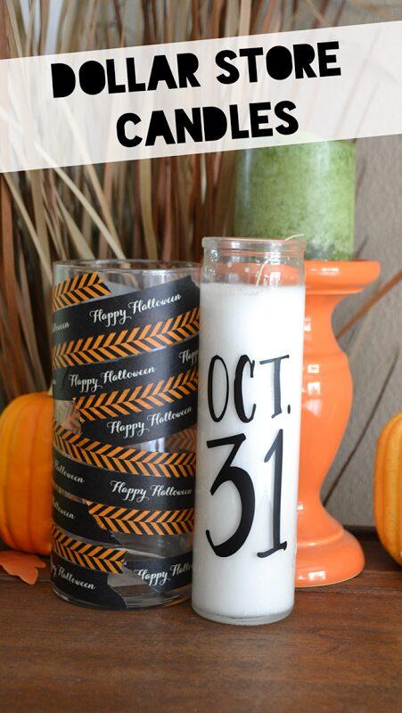 Dollar Store Candle Halloween Decor