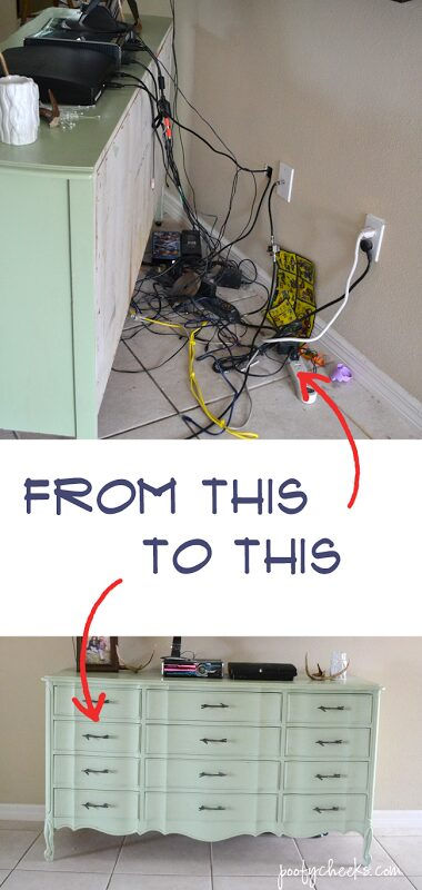 Keep those pesky electronic cords hidden - find out the solution to hiding electronic cords.