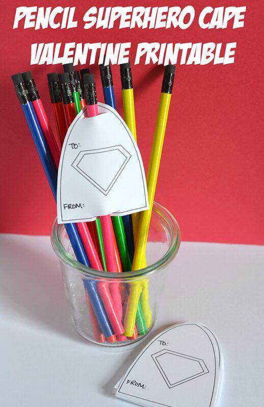 Boy Valentine – Printable Super Hero Cape Pencils