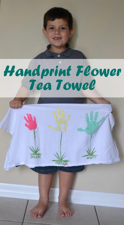 Mother's Day Handprint Flower Tea Towel
