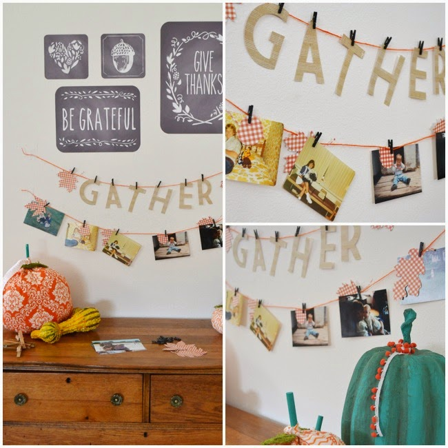 Gather Photo Banner - Thanksgiving Day decor. Have each guest bring an old photo to hang.
