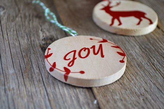 Handmade DIY Christmas Ornament – Wood and Vinyl