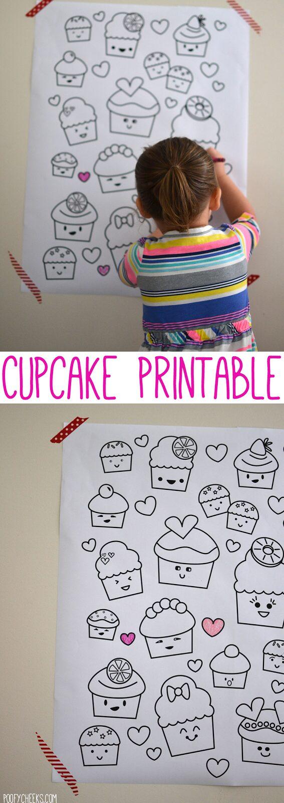 Printable Kawaii Valentine Cupcake Coloring Poster