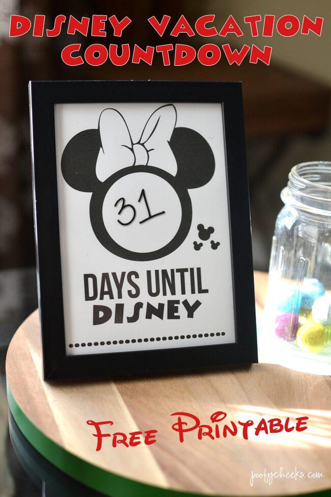 Disney Vacation Countdown - Free Printable Minnie