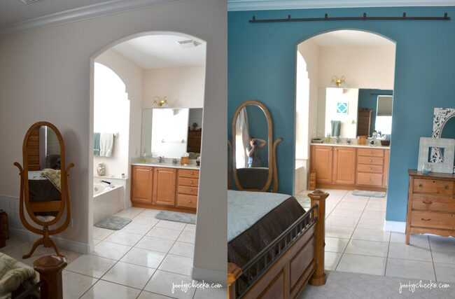 Master Bedroom Redo Before & After using BEHR Blue Clay Paint