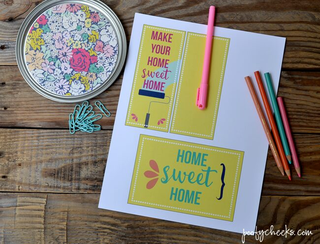 Need a fun housewarming gift idea? Stuff a paint can with paint supplies and tie on this free printable tag.