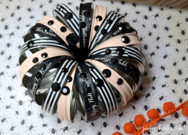 Glam Halloween Canning Jar Ring Pumpkin - 30 minute craft
