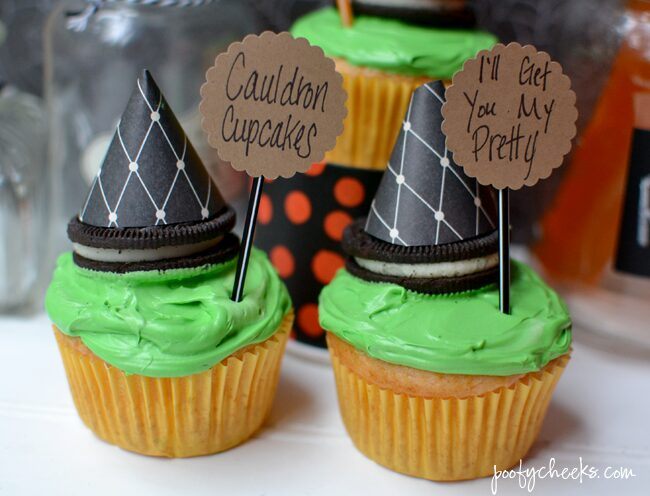 Create spooky Halloween cupcakes with a boxed cake mix and Fanta. Oreo Witch Hats add to the spookiness of these fun cupcakes!