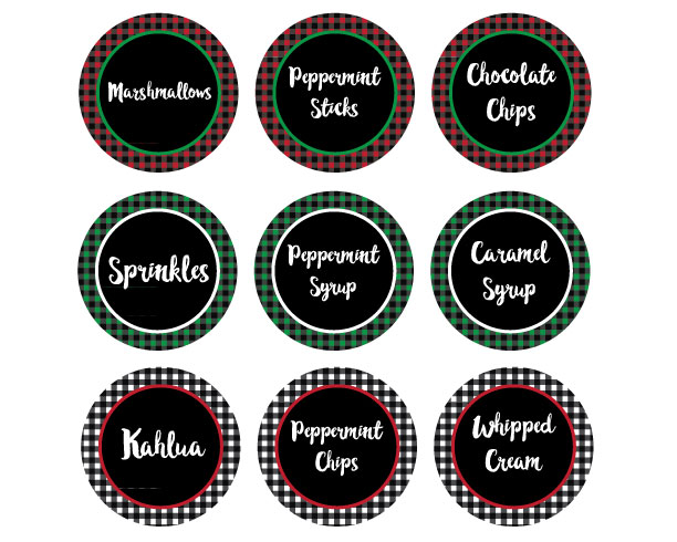 Buffalo Plaid Hot Cocoa Bar Printables - Set up an easy hot chocolate bar with printables.
