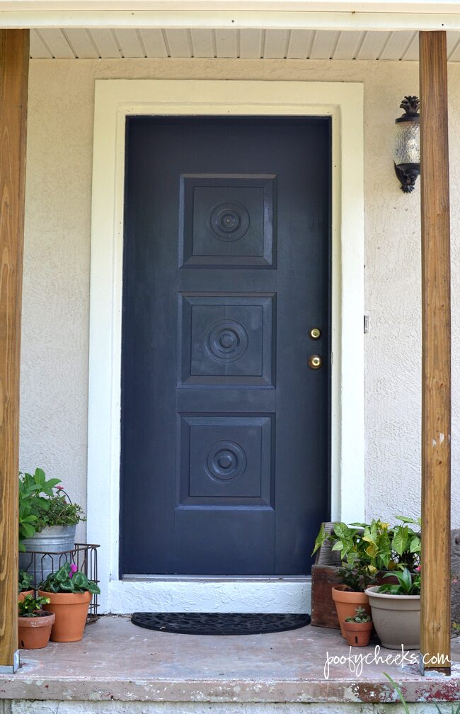 Painted Front Door Before & After with BEHR Poppy Seed