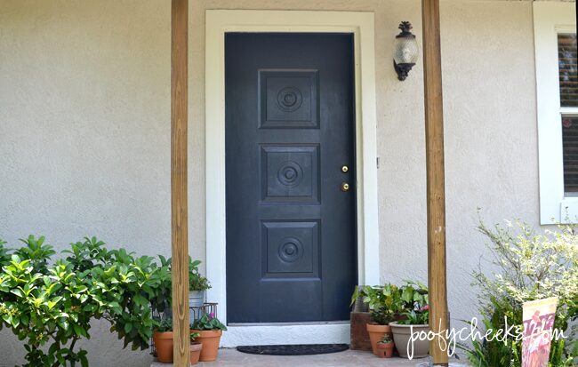 Painted Front Door Before and After - BEHR Poppy Seed