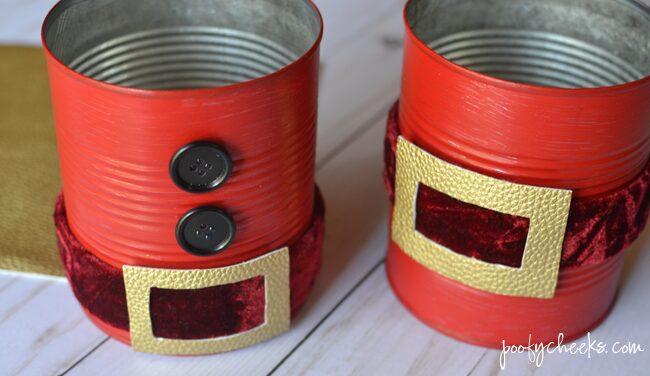Santa Cans - Repurpose Tin Cans into Santa decorations