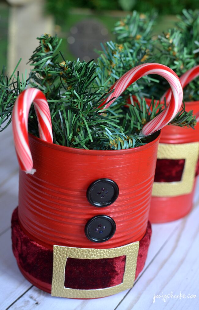 DIY Repurposed Tin Can Santas Decoration