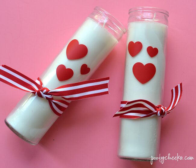 Valentine's Day Candles from Dollar Store Candles