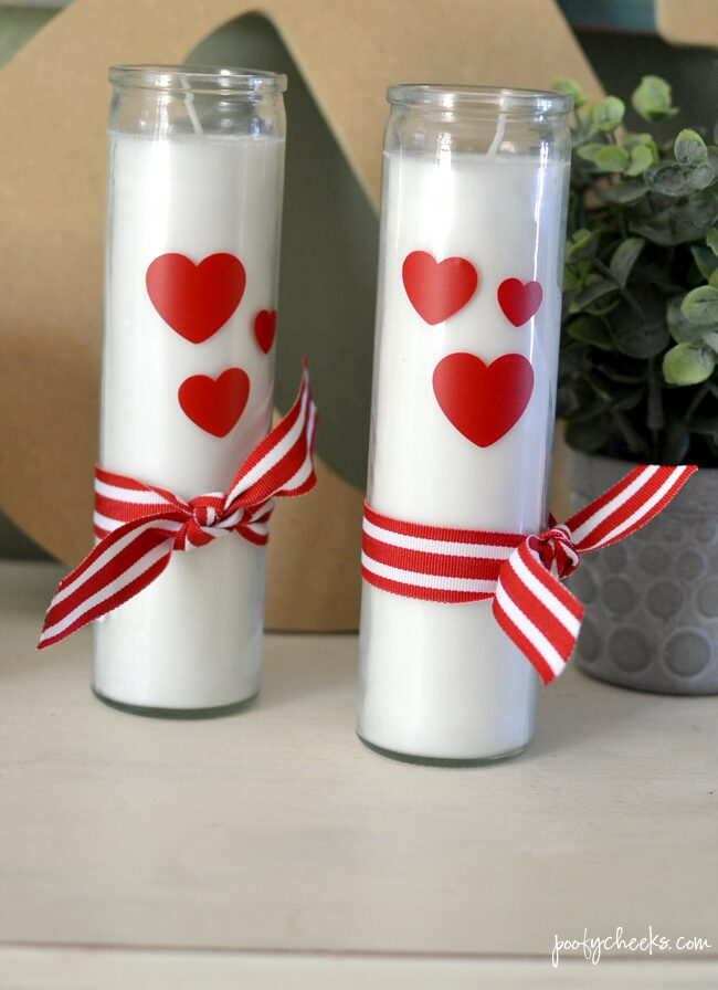 Valentine's Day Candles made from Dollar Store Candles - Use a Cricut or Silhouette