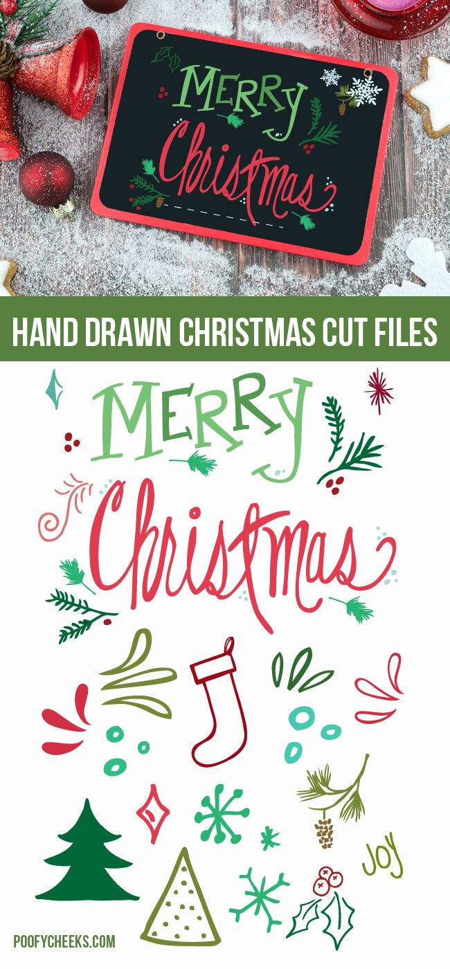 Christmas Doodle Cut Files and Printable - Floral and flourishes for Christmas designs. SVG, DXF, PDF and PNG.