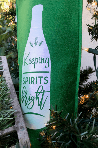 Keeping Spirits Bright HTV Wine Bag- Free Cut File