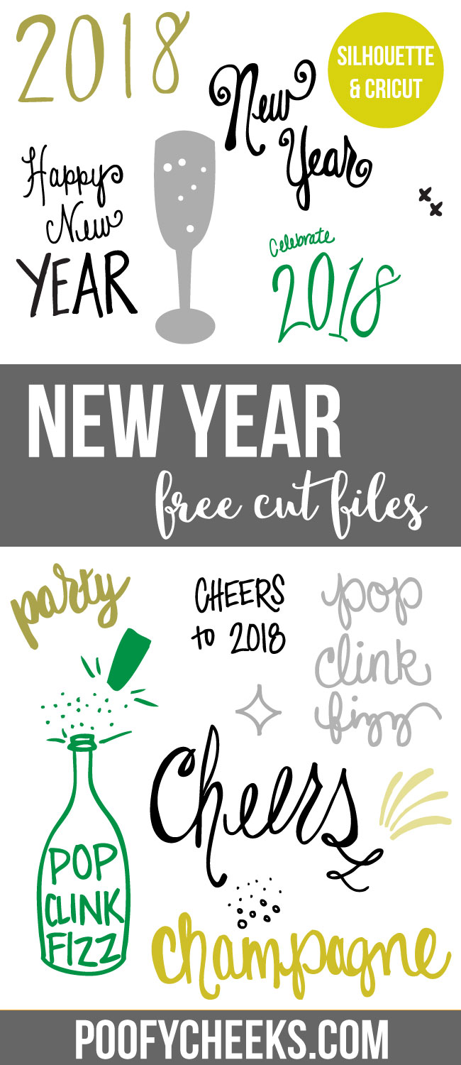 New Year cut files for electronic cutting machines. DXF and SVG files for Cricut and Silhouette machines.