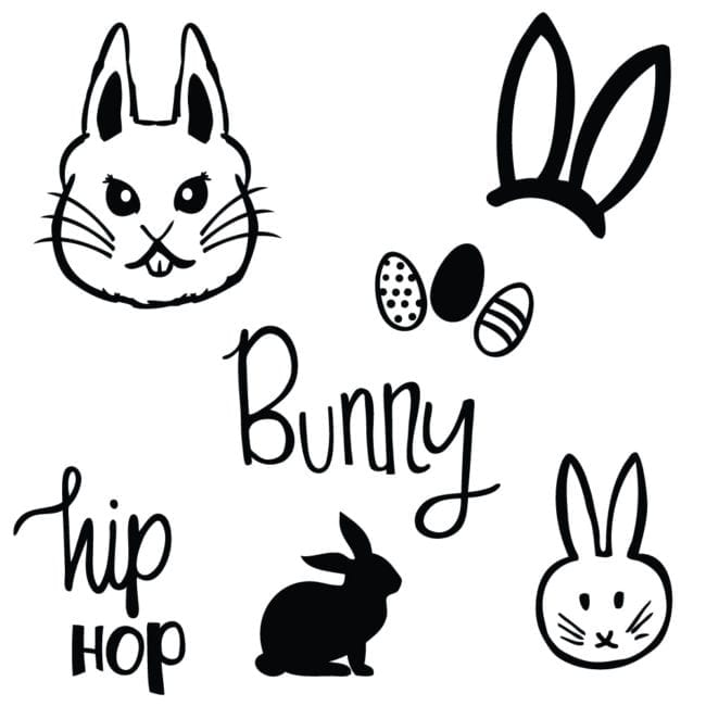 Easter Bunny Cut Files - free SVG and DXF files for use with Silhouette and Cricut machines.