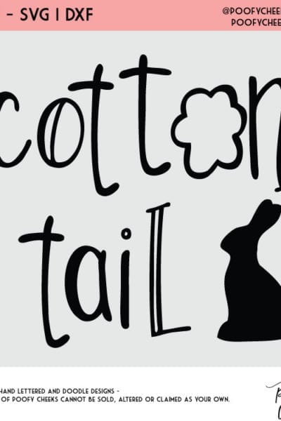 Cotton Tail Cut File – Free cut file for Silhouette and Cricut – SVG and DXF
