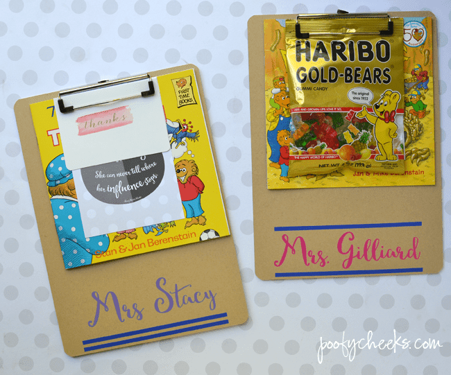 Adhesive vinyl applied to a clipboard. This makes the perfect end of year OR beginning of the year teacher gift with a book and candy.