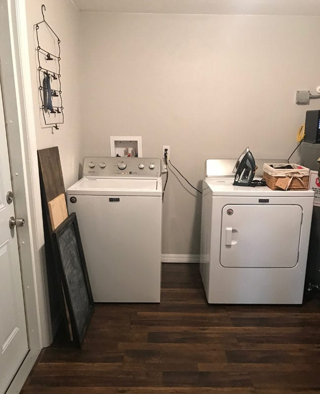 Laundry Room Storage Solutions - Add cabinets and shelving above washer and dryer.