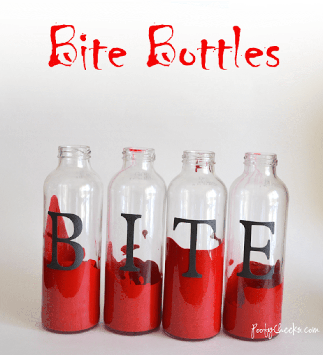 Adhesive vinyl letters onto recycled glass bottles. Use for home decor and holidays.