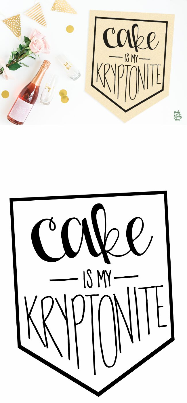 Cake is my Kryptonite - Free cut file for Silhouette and Cricut - SVG, DXF and PNG