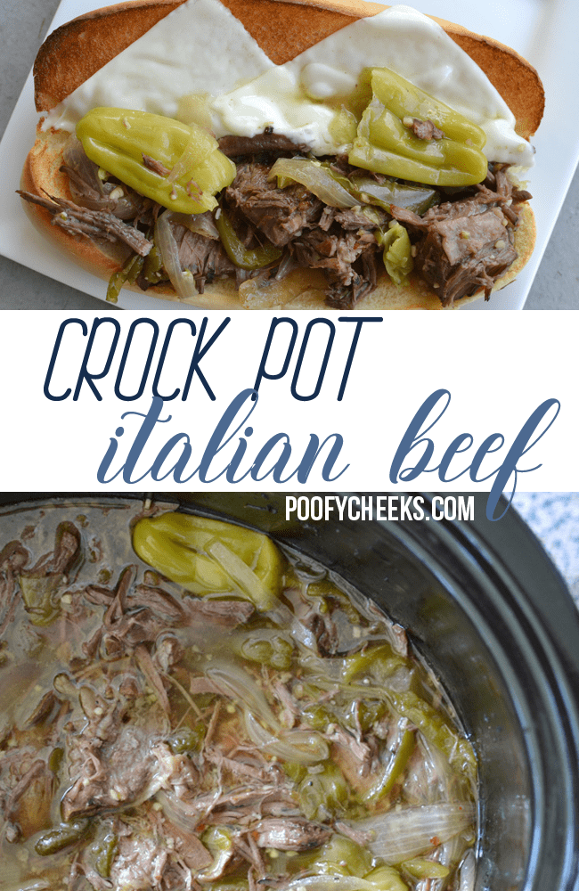 Crock pot italian beef recipe - a slow cooker recipe for Italian Beef sandwiches. The smell fills the house and it absolutely mouthwatering.