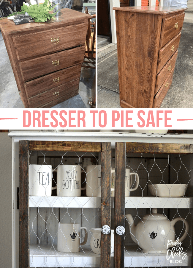 Before and After - DIY Dresser to Pie Safe