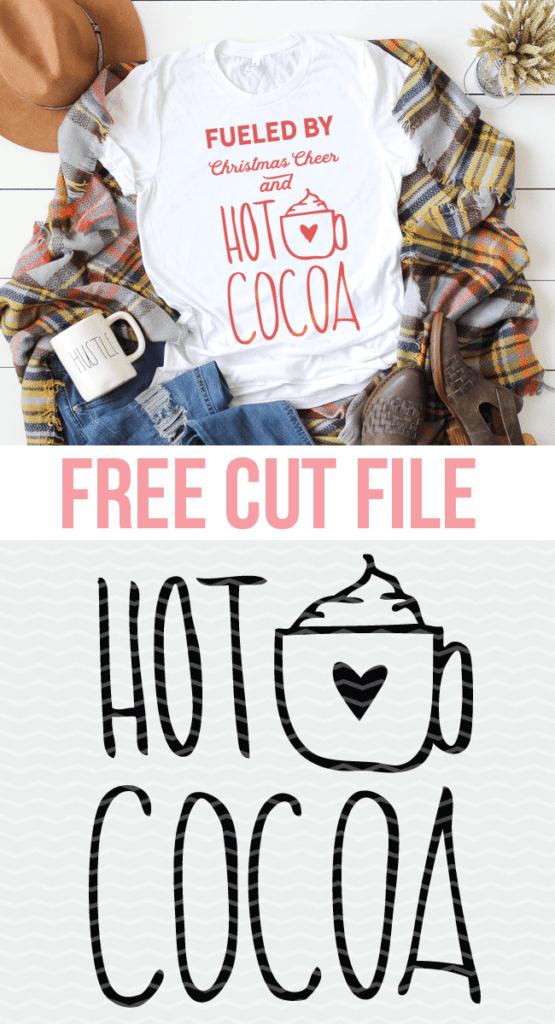 Hand lettered Hot Cocoa cut file for Silhouette and Cricut. #hotcocoa #freecutfile #cutfile
