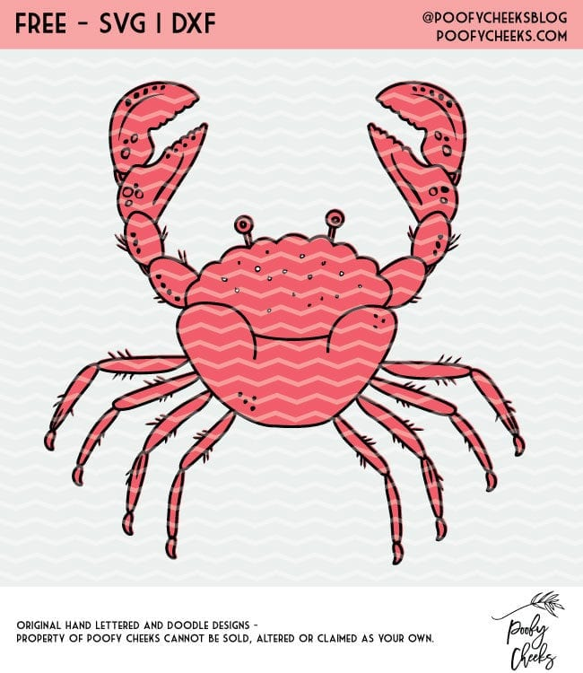 Crab cut file for use with Cricut and Silhouette cutting machines. SVG, PNG and DXF download.