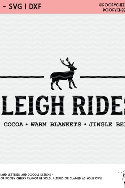 Sleigh Ride Reindeer Cut File – For Cricut and Silhouette – DXF, PNG, SVG