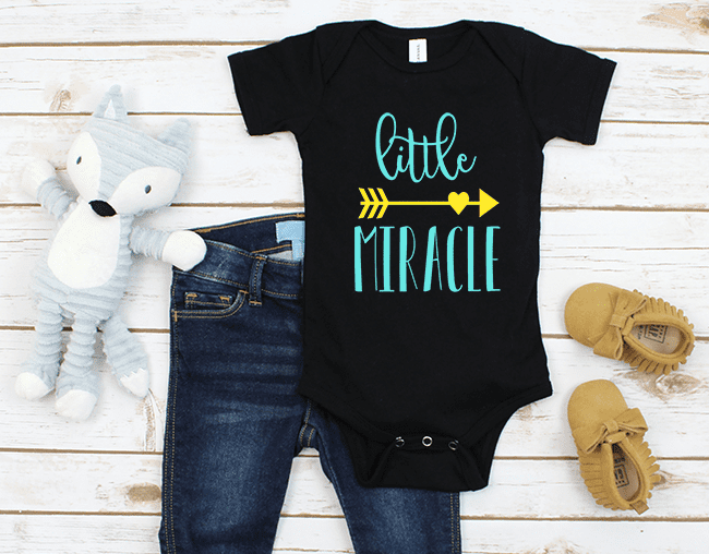 Little Miracle cut file for Silhouette and Cricut cutting machines. Free cut file for baby. Would go great on a onesie.