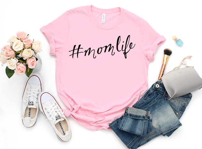Wife life Mom life free cut files for Cricut and Silhouette. Hand lettered mom shirt with HTV.