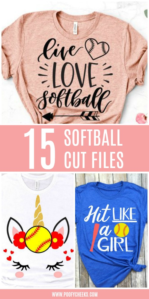 Softball Cut Files from around the web for Softball Tshirts.