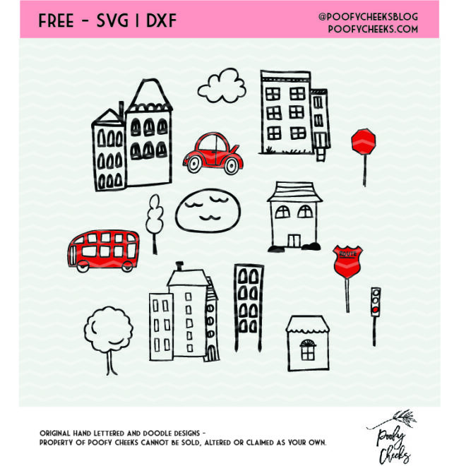 Town cut file bundle for use with Cricut and Silhouette machines. SVG, DXF and PNG
