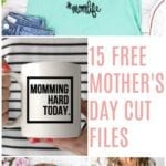 15 Mother's Day Free Cut Files from around the web. Use with Cricut and Silhouette cutting machines.