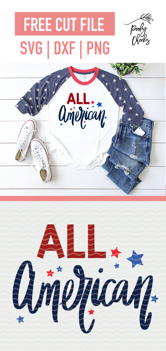 Patriotic cut file - All American. Flash freebie for use with Silhouette and Cricut cutting machines.